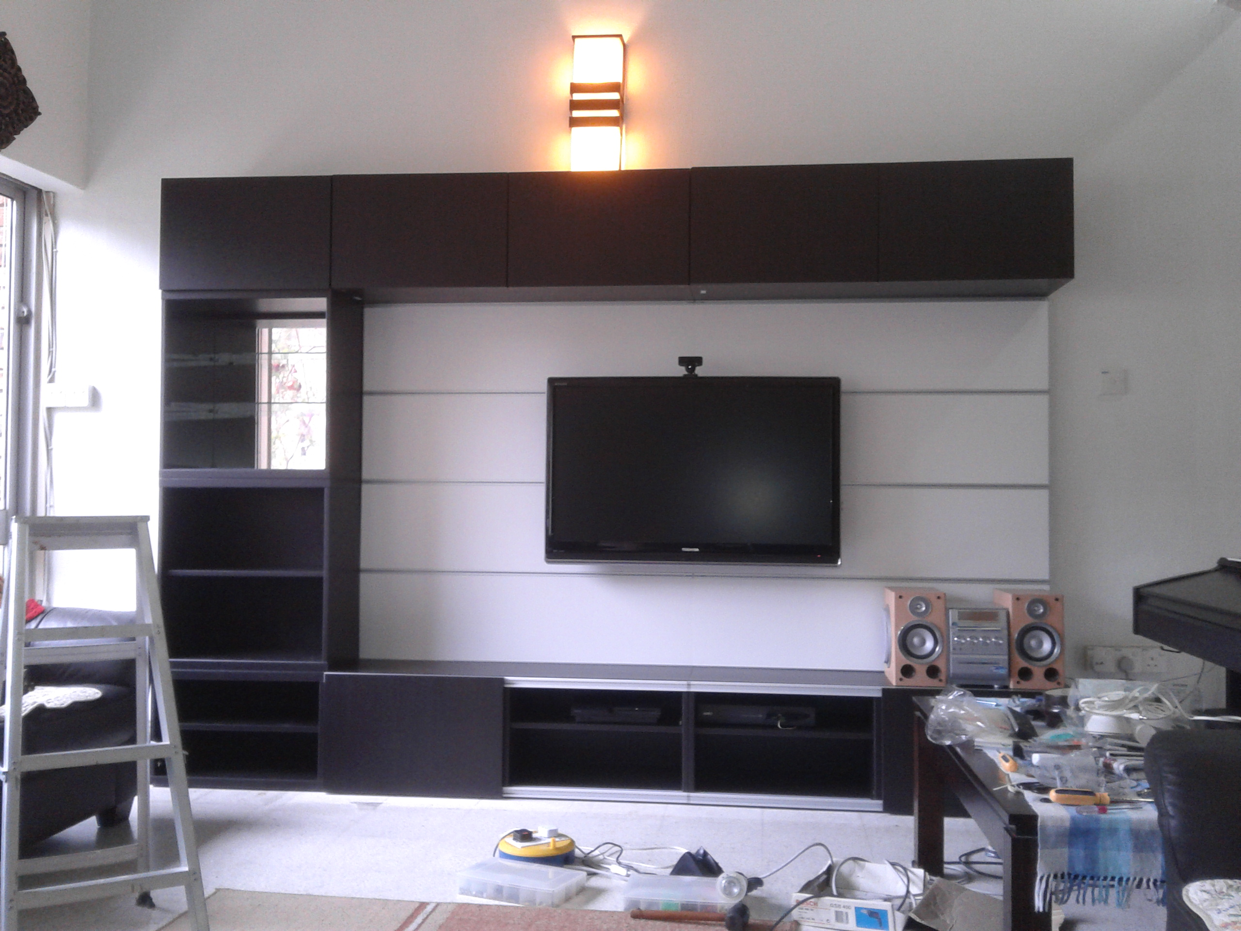 Diy ikea tv media furniture project part 3 sherren lee Ikea media room ideas